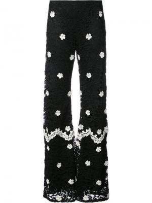 Широкие кружевные брюки Alexis. Цвет: черный