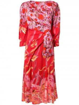 Расклешенное платье миди с цветочным принтом Peter Pilotto. Цвет: красный