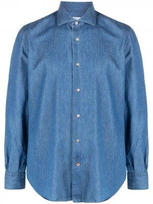 Джинсовая рубашка на пуговицах Mazzarelli. Цвет: синий