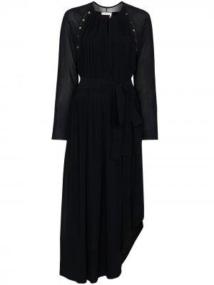 Платье макси асимметричного кроя на пуговицах Chloé. Цвет: синий