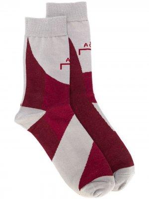 Носки до середины голени с логотипом A-COLD-WALL*. Цвет: красный
