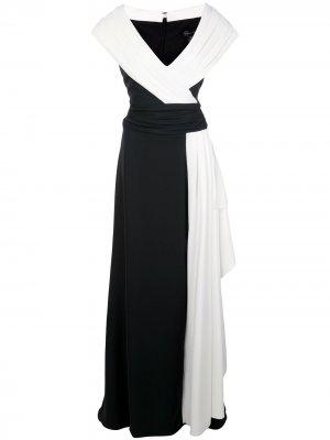 Платье макси в стиле колор-блок Tadashi Shoji. Цвет: черный