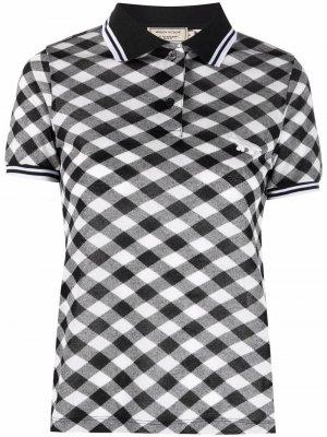 Клетчатая рубашка поло Maison Kitsuné. Цвет: черный