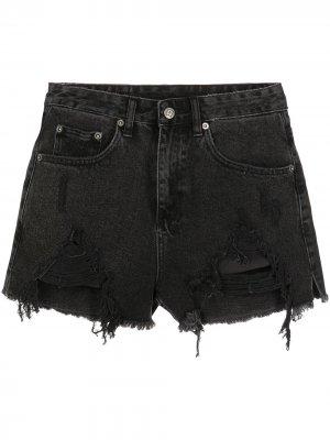 Джинсовые шорты с прорезями Ksubi. Цвет: черный