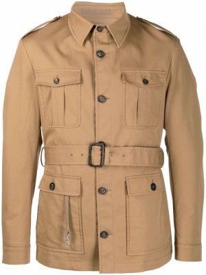 Куртка с поясом Eleventy. Цвет: коричневый