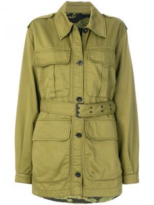 Куртка с поясом в стиле милитари Mih Jeans. Цвет: зеленый
