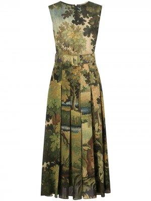 Платье с принтом Oscar de la Renta. Цвет: зеленый