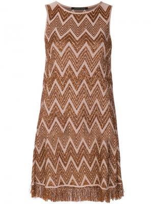 Приталенное платье с вышивкой Antonino Valenti. Цвет: металлик