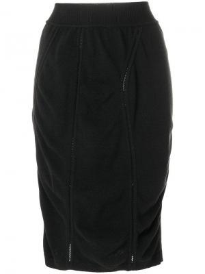Короткая юбка-карандаш с драпировкой Alaïa Vintage. Цвет: черный