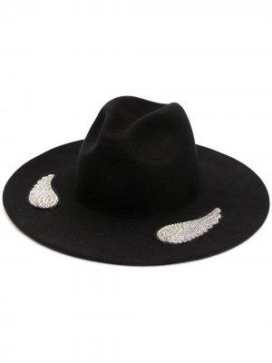 Декорированная шляпа-федора Gangster Kate Cate. Цвет: черный