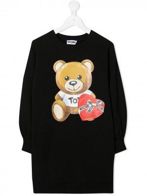 Платье-свитер Teddy Bear Moschino Kids. Цвет: черный