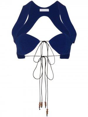 Бюстгальтер с вырезами и завязками MAXIMILIAN. Цвет: синий
