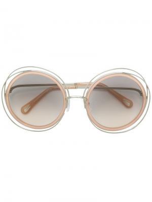 Круглые солнцезащитные очки Chloé Eyewear. Цвет: нейтральные цвета
