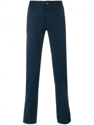 Облегающие брюки чинос Incotex. Цвет: синий