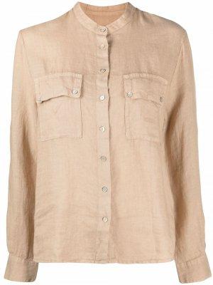 Рубашка с воротником-стойкой 120% Lino. Цвет: нейтральные цвета