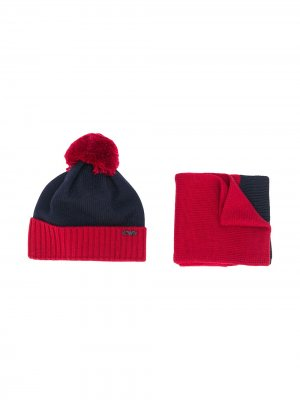 Комплект из шапки бини и шарфа Emporio Armani Kids. Цвет: синий