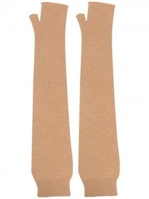 Длинные перчатки-митенки Maison Margiela. Цвет: нейтральные цвета