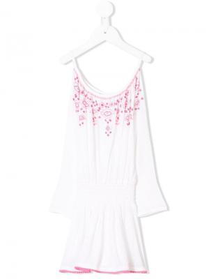 Платье с открытыми плечами и вышивкой Elizabeth Hurley Beach Kids. Цвет: белый