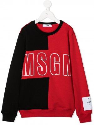 Свитер в стиле колор-блок с логотипом Msgm Kids. Цвет: красный