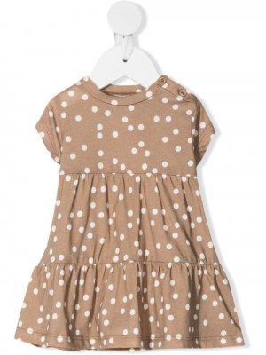 Присборенное платье в горох Douuod Kids. Цвет: нейтральные цвета