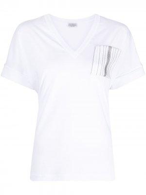 Stripe-detail V-neck T-shirt Brunello Cucinelli. Цвет: белый