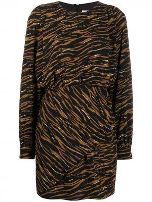 Платье с эластичным поясом и зебровым принтом Lala Berlin. Цвет: черный