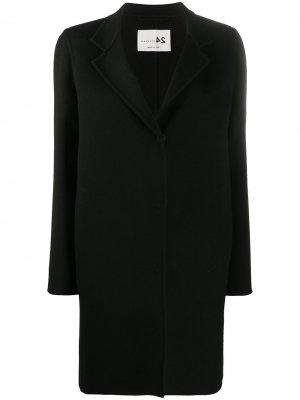 Однобортное пальто средней длины Manzoni 24. Цвет: черный