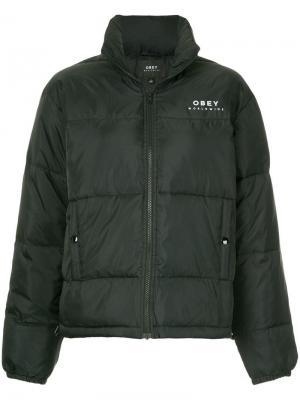 Укороченная дутая куртка Obey. Цвет: черный