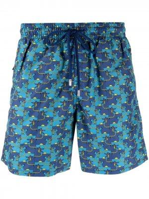 Плавки-шорты с графичным принтом Vilebrequin. Цвет: синий