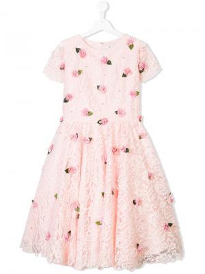 Платье с цветочной аппликацией Lesy. Цвет: розовый