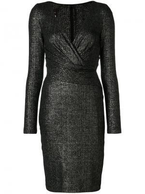 Приталенное платье с V-образным вырезом Talbot Runhof. Цвет: черный