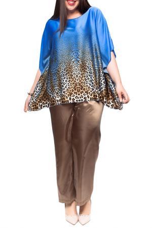 Костюм: блуза, брюки Leshar. Цвет: бежевый