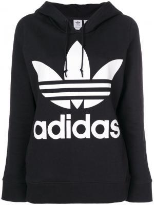Толстовка с капюшоном и логотипом Adidas Originals Trefoil. Цвет: черный