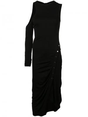 Платье с одним рукавом Yigal Azrouel. Цвет: черный