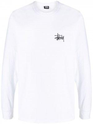 Топ с длинными рукавами и логотипом Stussy. Цвет: белый