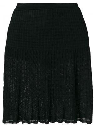 Плиссированная кружевная юбка Alaïa Vintage. Цвет: черный