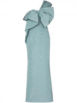 Платье на одно плечо с бантом Oscar de la Renta. Цвет: синий