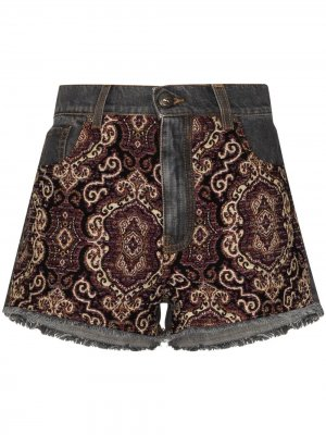 Джинсовые шорты с вышивкой Etro. Цвет: синий