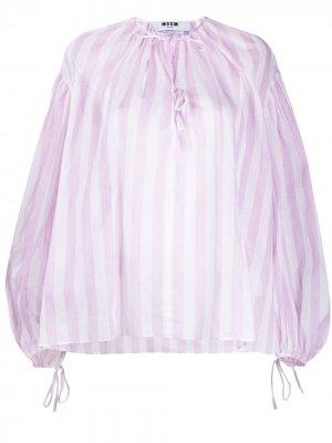 Блузка с завязками и объемными рукавами MSGM. Цвет: розовый