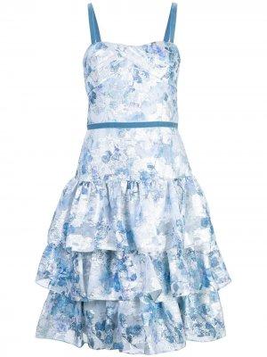 Расклешенное платье с цветочным принтом Marchesa Notte. Цвет: синий