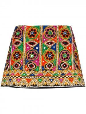 Юбка мини с вышивкой Ashish. Цвет: розовый