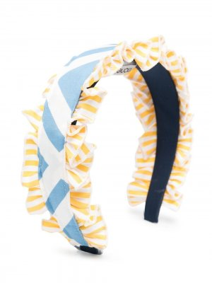 Ободок с оборками в полоску Simonetta. Цвет: синий
