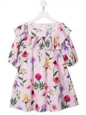 Платье-трапеция с цветочным принтом Monnalisa. Цвет: розовый