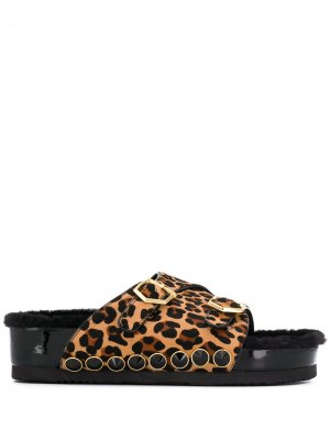 Босоножки на платформе с леопардовым принтом Suecomma Bonnie. Цвет: коричневый