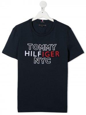Футболка с вышитым логотипом Tommy Hilfiger Junior. Цвет: синий