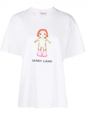 Футболка Margot с принтом Sandy Liang. Цвет: белый
