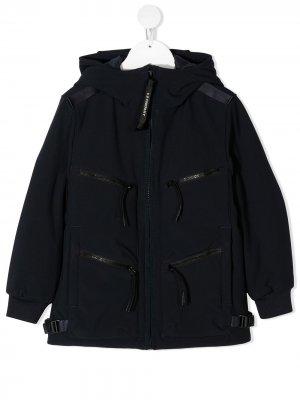 Куртка с длинными рукавами и линзами на капюшоне C.P. Company Kids. Цвет: синий