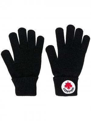 Перчатки с нашивкой-логотипом Dsquared2 Kids. Цвет: черный