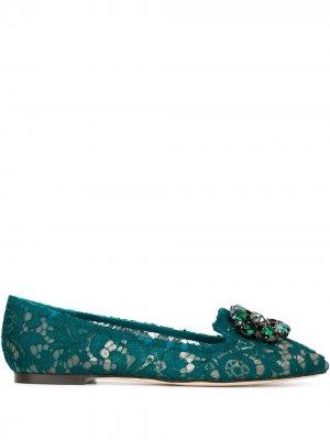 Слиперы Vally Dolce & Gabbana. Цвет: зеленый