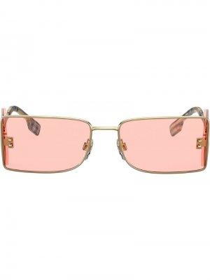 Солнцезащитные очки в квадратной оправе Burberry Eyewear. Цвет: золотистый